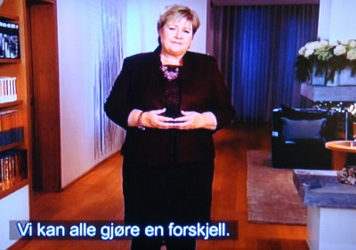 """""""We can all make a difference,"""" Prime Minister Erna Solberg said in her speech broadcast on New Year's Day. PHOTO: NRK screen grab/newsinenglish.no"""