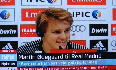 Norwegian Broadcasting (NRK) carried the press conference in Madrid live on national TV, when Martin Ødegaard was introduced as a Real Madrid player. His transfer from a small club in Drammen was very big news in Norway. PHOTO: NRK screen grab/newsinenglish.no