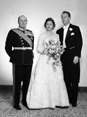"""Princess Astrid functioned for many years as Norway's """"first lady"""" for her widowed father. King Olav (left), but her husband Johan Martin Ferner remained out of the public eye. They married on January 12, 1961. PHOTO: kongehuset.no"""