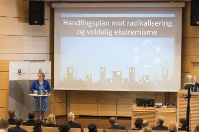 Political leaders including Prime Minister Erna Solberg have been launching new efforts to fight radicalization and extremism in Norway. PHOTO: Olav Heggø/Fotovisjon