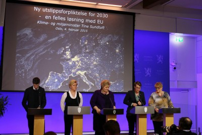 Norway's minority government won backing from its two support parties to latch on to the EU's climate policies. That let them avoid setting any specific goals for emissions cuts within Norway, once again protecting Norway's emission-producing oil and gas industry. PHOTO: Statsministerens kontor