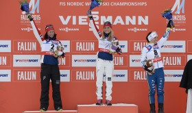 Norway's skiers claimed more medals on Saturday at the world championships. Therese Johaug won gold and Marit Bjørgen silver in the women's 30-kilometer race. Charlotte Kalla of Sweden (right) won the bronze. PHOTO: Nordic Focus/FIS Photo Pool
