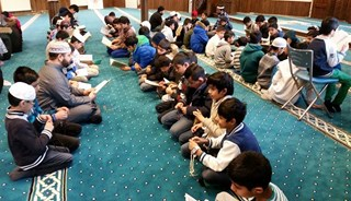 Young Muslims at the Minhaj ul-Quran mosque in Oslo after extremists attacks on a school in Peshawar that were condemned. PHOTO: Minhaj ul Quran Norge