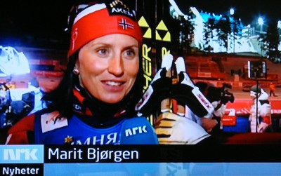 Marit Bjørgen was back on national TV Thursday night, after she won yet another gold medal on the opening day of the Nordic World Ski Championships in Falun, Sweden. PHOTO: NRK screen grab/newsinenglish.no