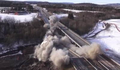 """The highway department's video of their """"controlled"""" bridge explosion also offers some unique views of the surrounding countryside. PHOTO: Statens vegvesen"""