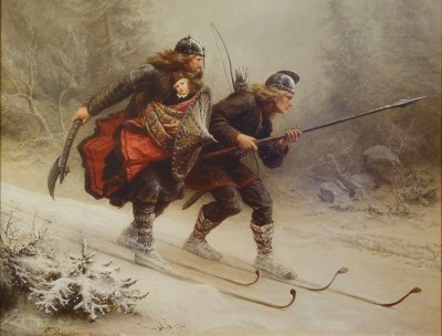 """The original Birkebeiners, depicted here in Knud Bergslien's iconic painting """"Birkebeinerne"""" from 1869, carried an infant king over the mountains from Lillehammer to Østerdalen in 1206. On Saturday, around 13,000 modern ski racers go in the opposite direction. PHOTO: Wikipedia Commons"""