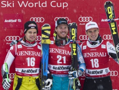 Kjetil Jansrud (center) is one of the world's fastest men on skis after winning the World Cups in both downhill and Super-G this season. He's shown here with Paric Kueng (left) and Matthias Mayer after winning at Kvitfjell earlier this month. PHOTO: FIS Ski World Cup Kvitfjell/Silje Nårstad