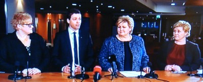 The four leaders of the government parties and their support parties, from left: Trine Skei Grande of the Liberals, Knut Arild Hareide of the Christian Democrats, Prime Minister Erna Solberg of the Conservatives and Finance Minister Siv Jensen of the Progress Party. They met reporters after a meeting on Tuesday to iron out some differences. PHOTO: NRK screen grab/newsinenglish.no