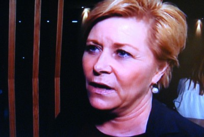 """It depends on how you define 'noise,'"" Finance Minister Siv Jensen told NRK after some unprecedented shrieking involving one of her party fellow and the head of the Christian Democrats. PHOTO: NRK screen grab/newsinenglish.no"
