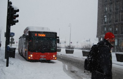Walking and skiing were among the best options on Thursday for anyone needing to move around Oslo. The city's entire bus system shut down because of heavy snowfall. PHOTO: newsinenglish.no