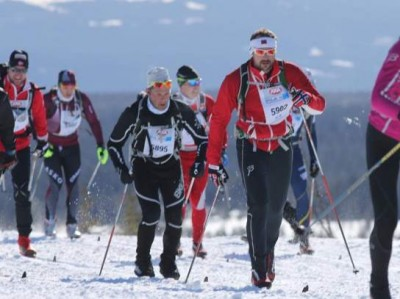 Crown Prince Haakon finished the 54-kilometer-long Birkebeiner race in just over three-and-a-half hours. He was one of more than 10,000 skiers taking part in the annual race over the mountains. PHOTO: Geir Olsen/Birken