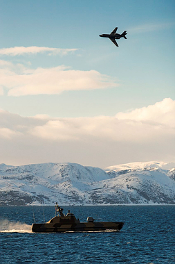 The Joint Viking exercises included air protection of corvettes in the Porsanger fjord. PHOTO: Forsvaret
