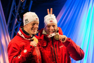 Johannes Thingnes Bø (left) and his brother Tarjei with their medals won at the World Championships in Kontiolahti, Finland last weekend. PHOTO: IBU World Championships Biathlon