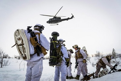 Soldiers from 2nd Battalion, during winter exercise Joint Viking 2015 in Finnmark, Norway
