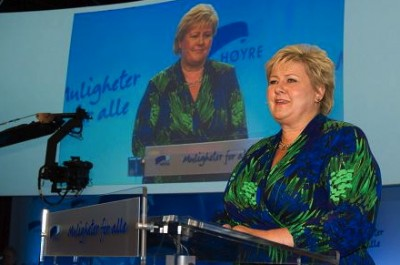 Prime Minister Erna Solberg opened her Conservative Party's annual national meeting for the second time since winning government power. She delivered an offensive speech as she tried to rally her troops in advance of local elections this fall. PHOTO: Høyre/Thomas Moss