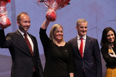 Labour Party members formally elected new party leadership during their annual national meeting: (from left) Deputy Leader Trond Giske, Party Secretary Kjersti Stenseng, Party Leader and Prime Minister candidate Jonas Gahr Støre and Deputy Leader Hadia Tajik. PHOTO: Arbeiderpartiet/Bernt Sønvisen