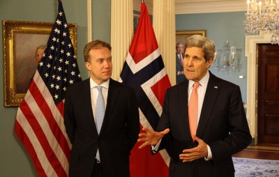 Some anti-nuclear activists claim Brende (left) is too beholden to the wishes of US. He's shown here at a meeting in Washington DC with US Secretary of State John Kerry. PHOTO: Utenriksdepartementet