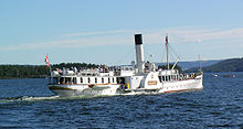 """The graceful old vessel """"Skibladner"""" has secured some funding for needed maintenance. The vessel is due to operated on Lake Mjøsa once again during the summer months. PHOTO: Wikipedia"""