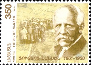 """Norwegian polar hero Fridtjof Nansen, who also was active in aiding Armenians, was hailed on a stamp in Armenia in 2011. Now the government of Nansen's homeland is being accused of """"closing its eyes"""" to an historic injustice in Armenia by refusing to recognize the deaths of hundreds of thousands of Armenians in the former Ottoman Empire as genocide. PHOTO: Wikipedia"""