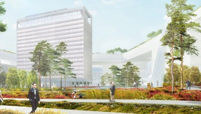 Dutch architect firm firm MVRDV proposes encircling the government high-rise with office buildings topped by roof gardens. ILLUSTRATION: MVRDV/Statsbygg