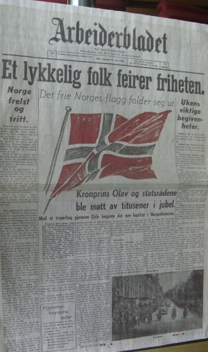 'A happy population celebrates freedom' reads the banner headline on this reprint of a Norwegian newspaper when it finally could start publishing again after World War II ended. Not everyone was in a position to celebrate, though, and the children of Nazi German sympathizers suffered for years. Now the government is considering an official apology.  PHOTO: newsinenglish.no
