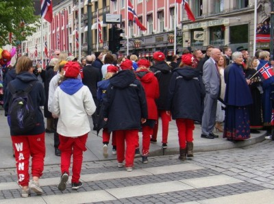 Russ mingled among other Norwegians out celebrating the 17th of May in Oslo on Sunday. The contrast could be startling. PHOTO: newsinenglish.no