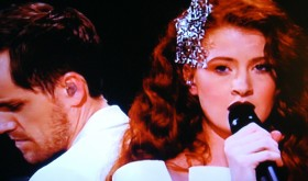 Norway's Kjetil Mørland and Debrah Scarlett ended up in eighth place after the Eurovision Song Contest voting was complete but claimed to be happy with that. PHOTO: newsinenglish.no/NRK screen grab