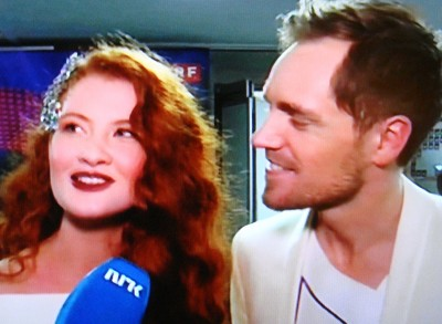 Debrah Scarlett and Kjetil Mørland being interviewed by NRK after they won a spot in the finals of this year's Eurovision Song Contest Thursday night. PHOTO: newsinenglish.no staff/NRK screen grab
