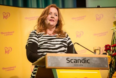 Dagrun Eriksen stepped in for the Christian Democrats' leader, Knut Arild Hareide, to run the party's annual national meeting in Trondheim over the weekend. She and other party leaders are threatening to drop their support for the conservative government. PHOTO: Kristelig Folkeparti
