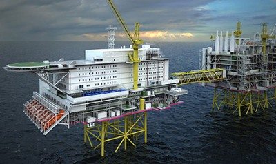 The new utility and accommodation platform for the Johan Sverdrup oil field, located around 140 kilometers off Stavanger in the North Sea, will house workers on the field for the next 50 years. It's due for completion in 2019. ILLUSTRATION: Statoil