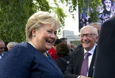 Prime Minister Erna Solberg is attempting, and steadily succeeding, at moving Norway farther to the right. In doing so, her reform program may make as lasting an effect as those ushered in during the 1980s by an earlier prime minister from the Conservative Party, Kåre Willoch (right). PHOTO: Statsministerens kontor