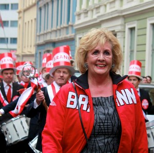 Bergen Mayor Trude Drevland has landed in trouble over her role as godmother for a cruiseship. She's also a big supporter of the city's football club Brann, which also has been in trouble during the past year. PHOTO: Wikipedia/Nina Aldin Thune