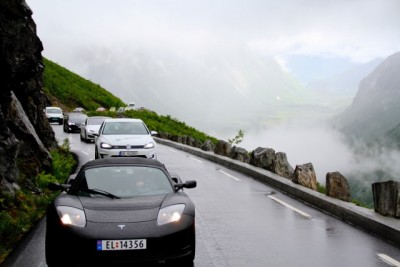 Lots of electric vehicles were rolling towards Geiranger for an EV festival this weekend. Norway now boasts one of the largest markets in the world for the quiet cars.  PHOTO: El-bil forening