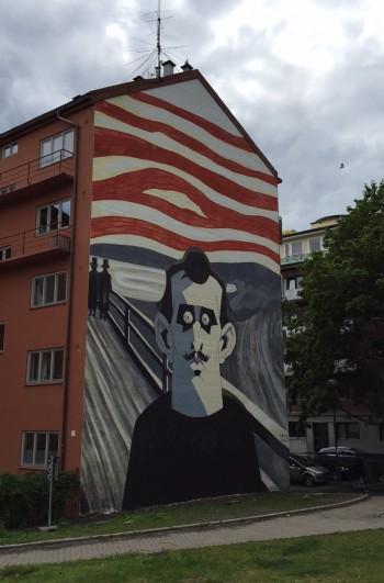 A new mural of Norwegian artist Edvard Munch adorns the wall of an apartment building in Oslo's Tøyen district. PHOTO: newsinenglish.no