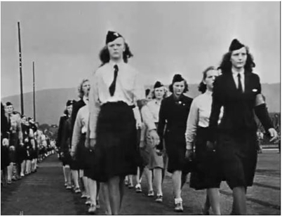 NS women, shown here our marching in an NS propaganda film, were later victims of street justice as were their children, who now may receive an apology from the government. PHOTO: Riksarkivet/Høyskolen i Lillehammer