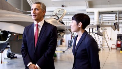 """Defense Minister Ine Eriksen Søreide said she was """"very glad"""" to have new NATO chief Jens Stoltenberg with her in Bodø, as they toured the country's main military air base. PHOTO: Forsvarsdepartementet/ Marita Isaksen Wangberg"""