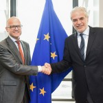 Vidar Helgesen (left), Norway's government minister responsible for European Economic Area (EEA/EØS) and EU Affairs has been spending a lot of time at the EU in Brussels, like here last month with Christos Stylianides in charge of Humanitarian Aid and Crisis Management at the European Commission. Helgesen is also Chief of Staff at the Office of the Prime Minister. PHOTO: Utenriksdepartementet