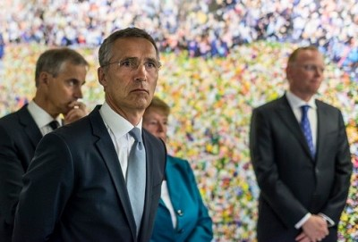 Jens Stoltenberg, the former Norwegian prime minister who now serves as head of NATO, was back in Oslo on Wednesday to take part in memorials to victims of the attacks on his government four years ago. At left, his former foreign minister and successor as head of the Norwegian Labour Party,  Jonas Gahr Støre, and behind him, one of his predecessors, Labour Party matriarch Gro Harlem Brundland. At far right, Sindre Finnes, husband of Norway's current prime minister, Erna Solberg. PHOTO: KMD/Tore Fjeld