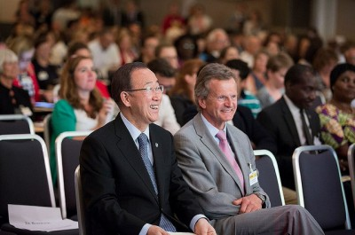 Jon Fredrik Baksaas has long been a leading figure in Norway and international business, and it was just a few months ago that he appeared with UN Secretary General Ban Ki-moon at a conference in Oslo. Now he's in big trouble over his role in handling corruption suspicions at Telenor's partly owned VimpelCom. PHOTO: Utenriksdepartementet/Espen Røst
