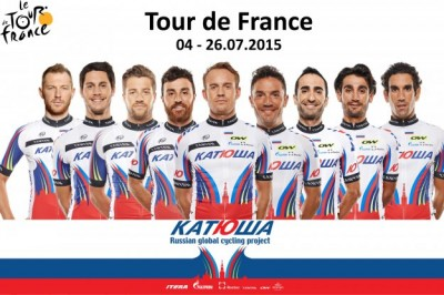 Norwegian cyclist Alexander Kristoff is front and center in this year's team photo for Katusha's roster at the Tour de France. It's a rare honour that's never before been bestowed by an international cycling team on a Norwegian. PHOTO: Team Katusha