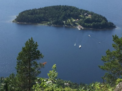 The island of Utøya was bathed in sunshine on Wednesday, when survivors and families of victims attended a late afternoon memorial on the island, four years after the massacre there. This photo was taken from the nearby hills on the mainland. PHOTO: newsinenglish.no