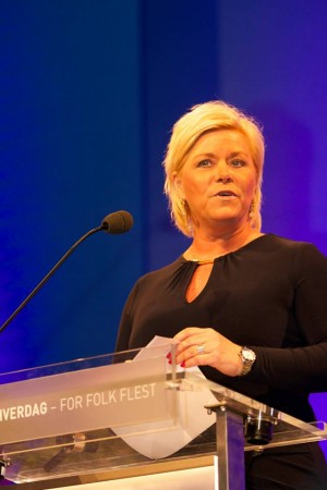 """Finance Minister Siv Jensen, leader of the conservative and free-market-oriented Progress Party, is now keen to meet with companies doing business in the so-called """"sharing economy."""" PHOTO: Fremskrittspartiet"""