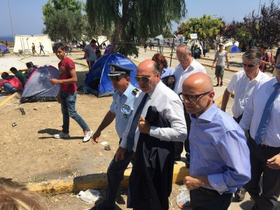 Helgesen, the government minister who met refugees on the Greek island of Lesvos earlier this month, is promising more aid to help Greece and other countries tackle the refugee crisis. PHOTO: Utenriksdepartementet