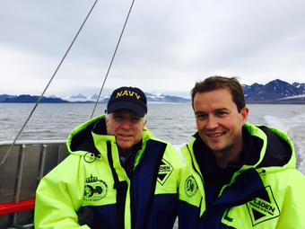 US Senator John McCain was among the latest foreign dignitaries to visit Norway's remote Arctic islands of Svalbard, which are playing an increasingly important role in bio- and geopolitics. At right, Norwegian State Secretary Bård Glad Pedersen. PHOTO: Twitter/@SenJohnMcCain