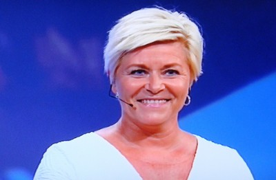 Finance Minister Siv Jensen, leader of the conservative Progress Party, was under huge pressure during the debate to defend her controversial view on the refugee issue in particular. Commentators at both ends of the political spectrum agreed that she held up well and emerged as a winner. PHOTO: NRK screen grab/newsinenglish.no