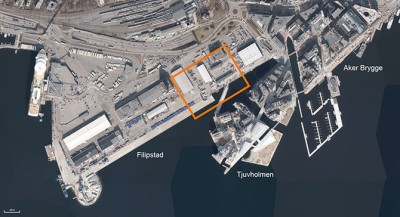 An aerial view of where the new concert hall and conference center would be built at Filipstad in Oslo. PHOTO: Oslo Filharmonien