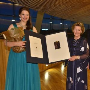 Lise Davidsen with Queen Sonja after winning the royally sponsored international music competition in Oslo. PHOTO: Dronning Sonja Internasjonale Musikkonkurranse/Camilla Storvollen