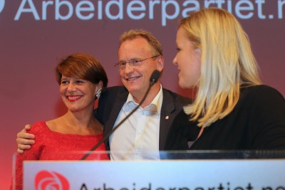 Labour's candidate for mayor, Tone Tellevik Dahl (left) and Raymond Johansen celebrated Labour's strong showing in Monday's election and want to form Oslo's new government. At right, Labour Party Secretary Kjersti Stenseng. PHOTO: Arbeiderpartiet
