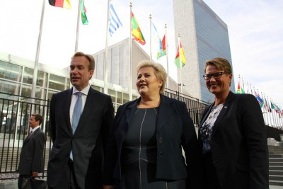 Posing outside UN headquarters in New York: (from left) Foreign Minister Børge Brende, Prime Minister Erna Solberg and her minister for the environment, Tine Sundtoft, who was there for the session on sustainability, Sundtoft, who, like Brende and Solberg, is from the Conservative Party, will head Norway's delegation to the UN climate summit in Paris in December, PHOTO: Utenriksdepartementet