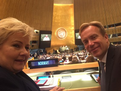 Prime Minister Erna Solberg and Foreign Minister Børge Brende, in place at the UN General Assembly in New York. PHOTO: Statsministerens kontor